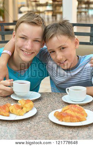 Happy children  at breakfast