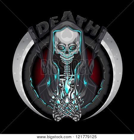 Death Skeleton Grim Reaper Characters With Scythe Emblem Logo Holding Human Soul