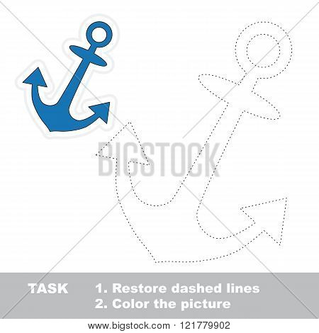 Anchor in vector to be traced. Restore dashed line and color the picture. Trace game for children.
