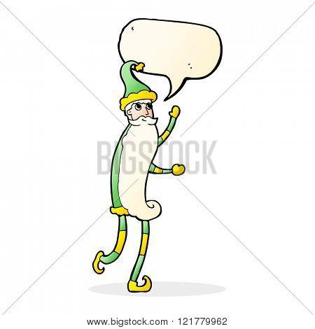 cartoon skinny santa with speech bubble