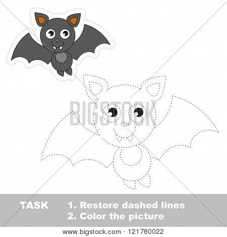 Vampire Bat in vector to be traced. Restore dashed line and color the picture. Trace game for children.