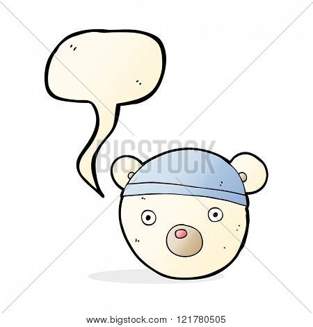 cartoon polar bear cub wearing hat with speech bubble