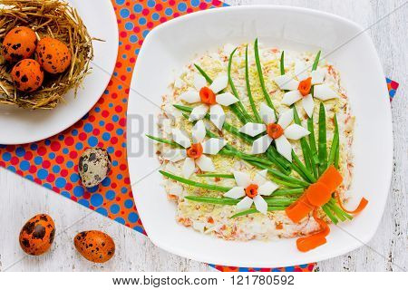 Beautiful Easter Appetizer Decorated With Flowers From Ingredients