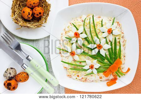 Easter Salad Decorated With A Flower Bouquet