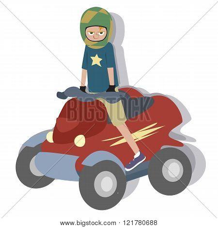 cartoon boy riding quad