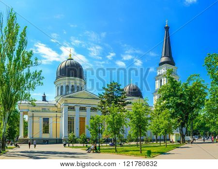 ODESSA UKRAINE - MAY 18 2015: The Transfiguration Cathedral in Odessa is one if the biggest orthodox churches in Ukraine on May 18 in Odessa.