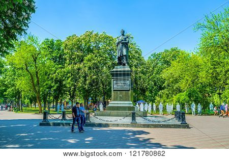 ODESSA UKRAINE - MAY 18 2015: The monument to the governor of New Russia Prince Mikhail Vorontsov located in the Soborna Square next to the Cathedral on May 18 in Odessa.