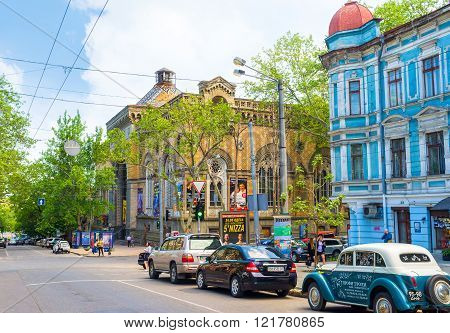 ODESSA UKRAINE - MAY 18 2015: The Odessa Philharmonic Theater edifice in neogothic style was originally built as the Merchants Exchange building on May 18 in Odessa.