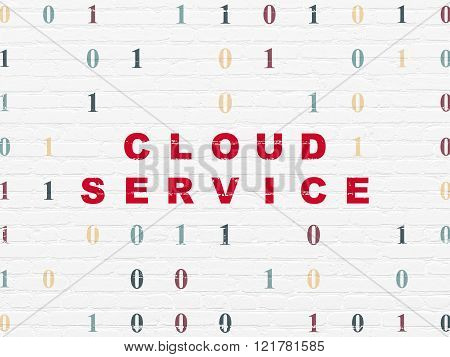 Cloud technology concept: Cloud Service on wall background