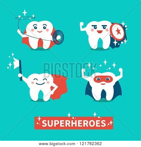 Hero teeth. Banner with happy cute teeth superheroes.Teeth care and hygiene concept. Vector flat illustration.