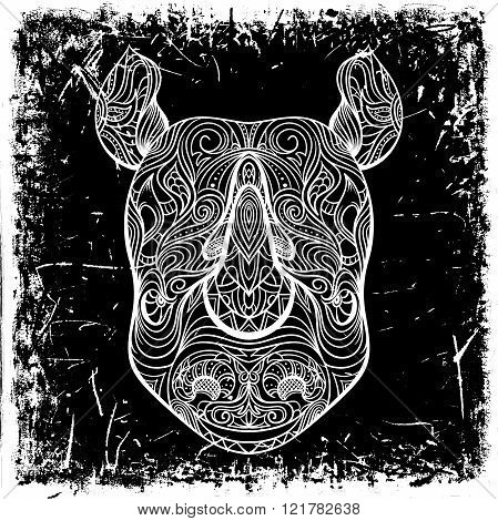 Rhino head with ornament on grunge background. Tattoo art. Retro banner, card, scrap booking. t-shirt, bag, postcard, poster.Highly detailed vintage black and white hand drawn vector illustration