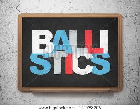 Science concept: Ballistics on School Board background