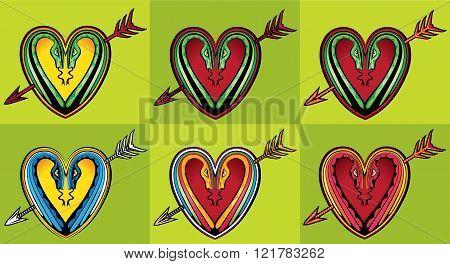 heart shape design with snake silhouettes arrow symbol tattoo