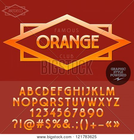 Orange emblem for organic and ecologic product store. Vector set of letters and numbers