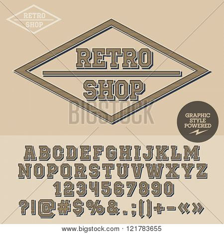 Vintage emblem for antique store. Vector set of letters, numbers and symbols.
