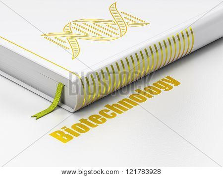 Science concept: book DNA, Biotechnology on white background