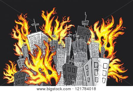 cartoon panel buildings catching fire vector illustration