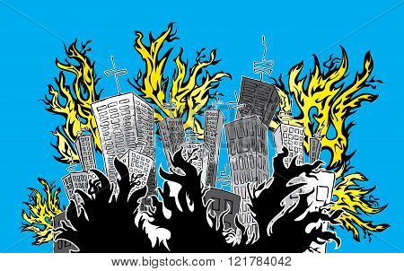cartoon panel buildings catching fire vector illustration