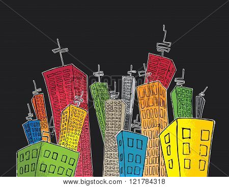 cartoon colored skyscrapers suburb design with antennas
