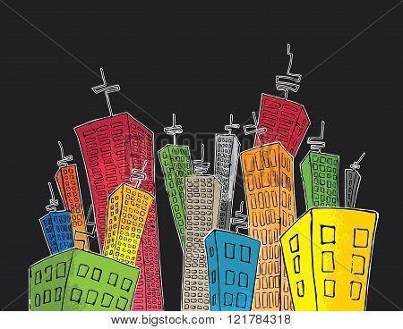 cartoon colored skyscrapers suburb design with antennas