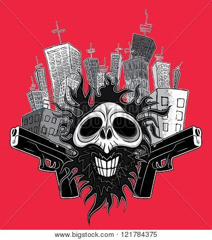 smiling skull guns panel city background vector illustration