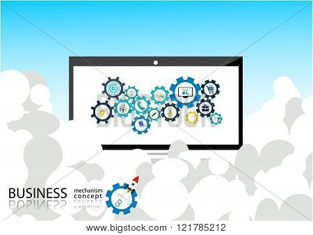 business mechanism concept - Abstract background with connected gears and icons for strategy,