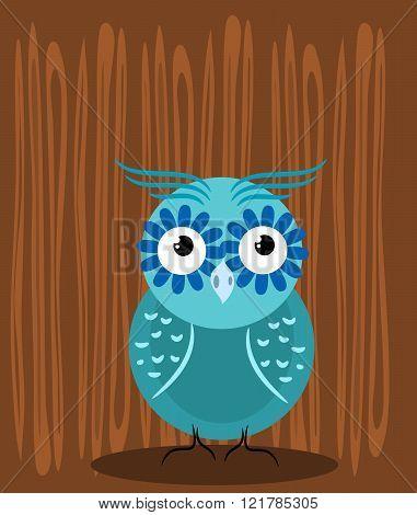 Owl Illustration On Wooden Background