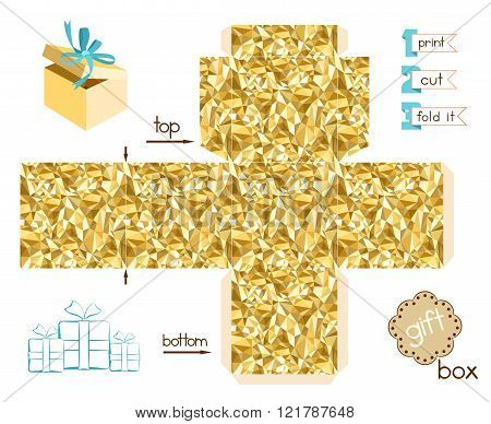 Printable Gift Box With Golden Triangles Mosaic Pattern