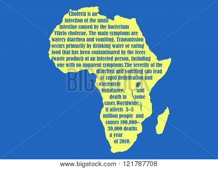 African Continent Map With Cholera Description Text