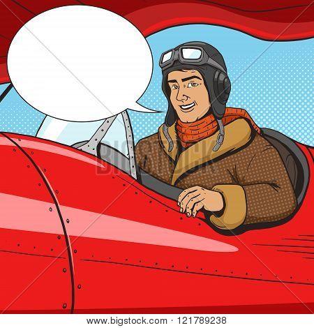 Retro pilot in vintage plane pop art style vector