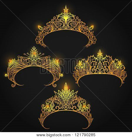 Collection of golden tiaras. Vintage hand drawn vector illustration.