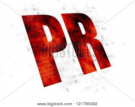 Marketing concept: PR on Digital background