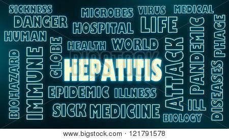 medical theme information. Hepatitis virus disease relative words cloud