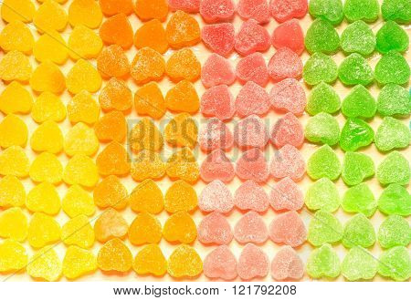 Colorful Jellies And Candies Sweets Heart-shaped Background