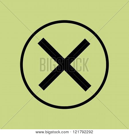 Cancel Icon, On Green Background, Circle Border, Dark Outline