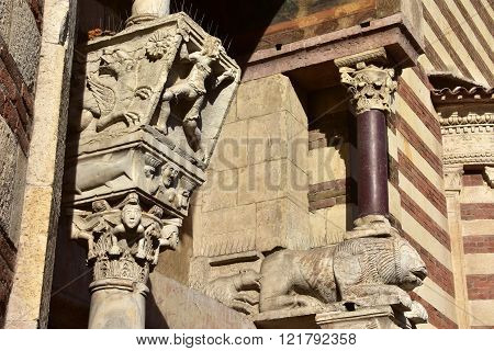 Beautiful Medieval Capitals From Verona Cathedral Side Portal