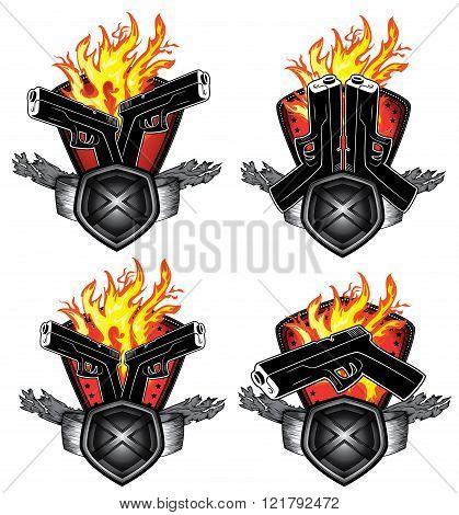 pistol weapon fire flames metal shield background illustration