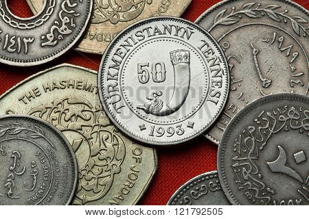 Coins of Turkmenistan. Ancient drinking horn depicted in the Turkmenistan 50 tenge coin.