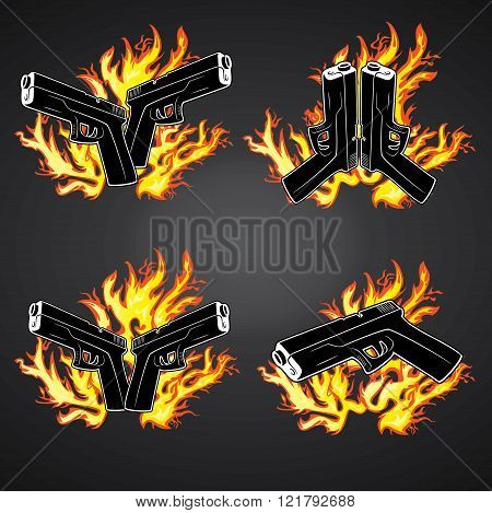 pistol weapon graphic fire flames background illustration