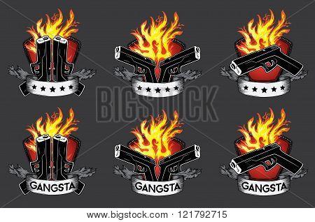 pistol weapon fire flames paper parchment background  illustration