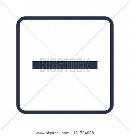 Minus Icon, On White Background, Rounded Rectangle Border, Blue Outline