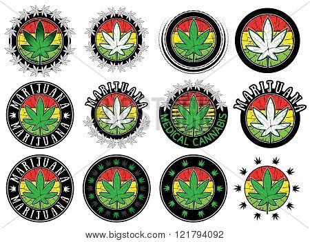 Cannabis Marijuana leaf smybol stamps vector illustration