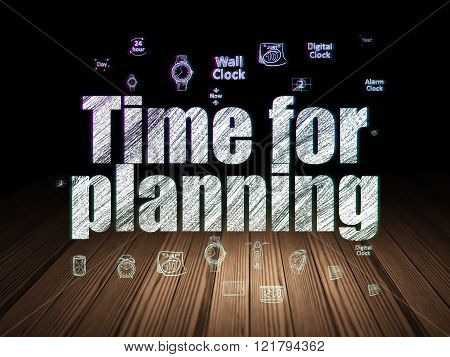 Time concept: Time for Planning in grunge dark room