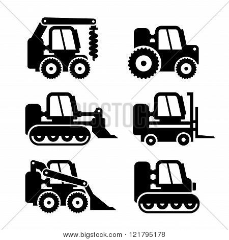 Bobcat Machine Icons Set. Vector