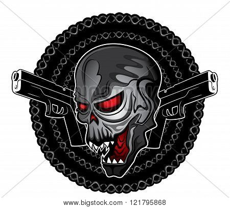 punk cyber human skull with pistols chain metal background