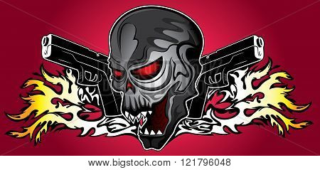 punk cyber human skull with pistols and fire flames background