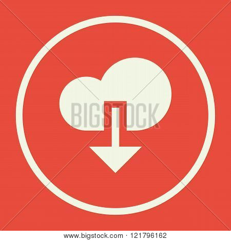 Cloud Download Icon, On Red Background, White Circle Border, White Outline