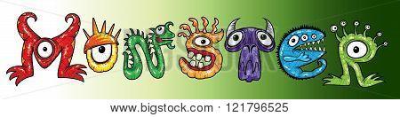 mutant cartoon halloween monsters character text vector illustration