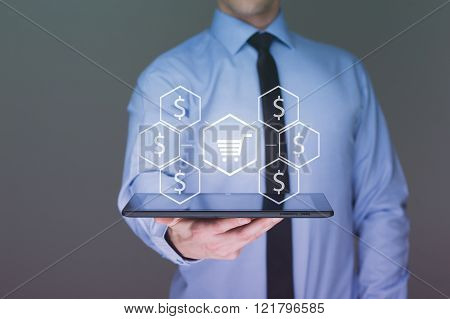business, sale, technology and people concept -  businessman with tablet pc computer, virtual shoppi