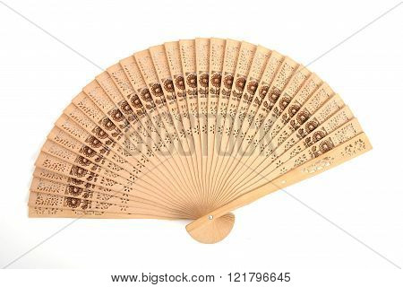 single folding fan isolated on white background